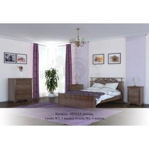 Кровать из массива сосны Ирида резная