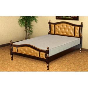 Кровать из массива березы Агата-2 с вставками из экокожи