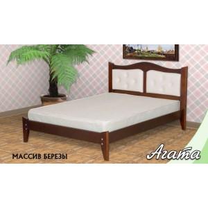 Кровать из массива березы Агата с вставками из экокожи